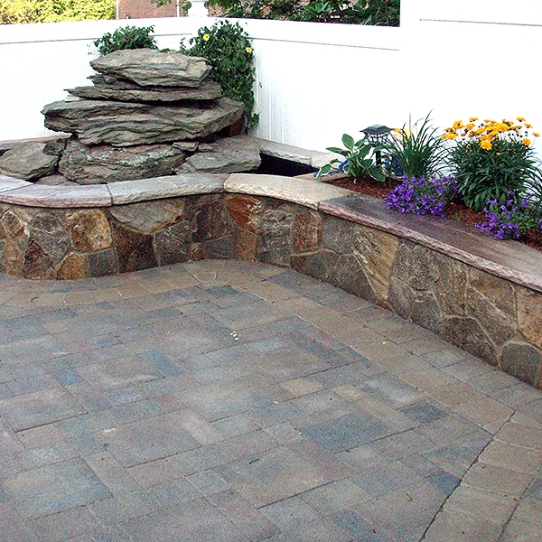 Brick Pavers and Stone Knee Wall in Berlin New Jersey